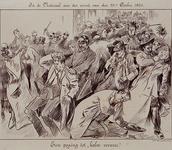 XXXIII-219-01 29 oktober 1901Lezing van Justus van Mourik in de Nutszaal.Spotprent op de regeling van de orde door de ...