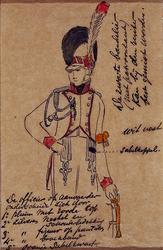 XXXIII-267-02-3 1913Herdenking van de 100-jarige onafhankelijkheid.Ontwerp in costuum in de optocht:- Officier.