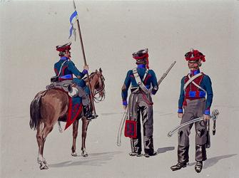 XXXIII-267-02-6 1913Herdenking van de 100-jarige onafhankelijkheid.Ontwerp in costuum in de optocht:- Cavaleristen.