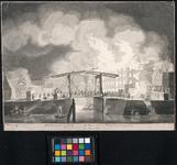 XXXIII-29-1 11 maart 1779, Gezicht op het gebouwencomplex tijdens de brand in de Pottebakkerssteeg