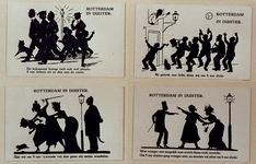 XXXIII-300 1914-1918. De mobilisatie. 4 prentbriefkaarten op 1 blad. Van links naar rechts en boven naar beneden:- De ...