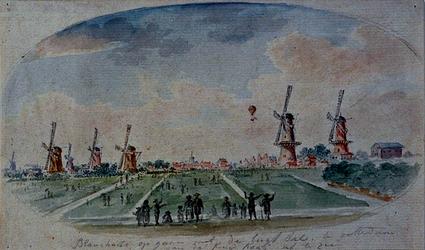 XXXIII-33 Het opstijgen van de luchtballon van Blanchardt, gezien vanaf de Kruiskade.