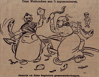 XXXIII-341-04 11 december 1929Spotprent op de gemeeteraadsvergadering.Onze wethouders aan het argumenteren bij de ...