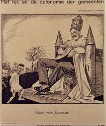 XXXIII-347-01-01 30 oktober 1931Spotprent op de conferentie van de burgemeester en twee wethouders met de minister van ...