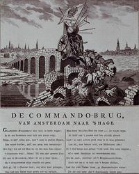 XXXIII-35 1786Spotprent getiteld De Commando-brug van Amsterdam naar 's Hage over de ontheffing van de Prins van het ...