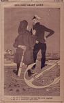 XXXIII-380 13 juli 1936Spotprent op het laatste opgelegde schip uit de haven vertrokken.De burgemeesters van Rotterdam ...