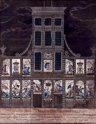 XXXIII-41-01 8 maart 1788Verjaardag van stadhouder Willem V. Illuminatie van en decoraties aan het huis van de Oprechte ...