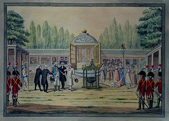 XXXIII-44 Het bezoek stadhouder Willem V aan de menagerie van Van Aacken aan de Kerklaan.
