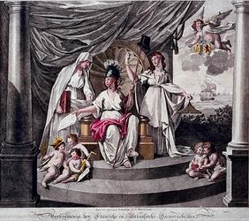 XXXIII-47-01 1796Zinnebeeldige voorstelling van de verbintenis der Franse en Bataafse gemenebesten.