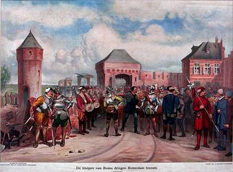 XXXIII-5-00-00-01 9 april 1572De troepen van Bossu trekken Rotterdam binnen.