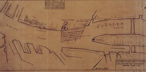 XXXIII-502 29 april - 1 mei 1939Vlootschouw.Plattegrond van de ligplaatsen plan vlootbezoek 28 april-2 mei 1939. ...