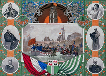 XXXIII-52-02 17 november 1813Herdenkingsplaat onafhankelijkheid.Aankomst Prins van Oranje te Scheveningen. Omlijst door ...