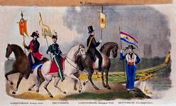 XXXIII-58 1841Intocht van Willem II te Rotterdam.Uniformen van de Rotterdamse eerewacht en de eeresloeproeiers, de ...