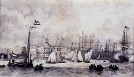 XXXIII-60-02 10 juni 1846Zeilvaartuigen en roeiboten voor het Yachtclubgebouw nabij de Veerhaven.