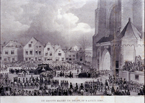 XXXIII-61-2 Grote Markt Delft.Rouwstoet begrafenis van Koning Willem II.