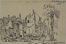 XXXIII-62-02-3 13 mei 1849Restanten van de suikerraffinaderij van de heer P. Tromp aan de Leuvehaven, na de brand.