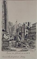 XXXIII-62-02-4 13 mei 1849Restanten van de suikerraffinaderij van de heer P. Tromp aan de Leuvehaven, na de brand; ...