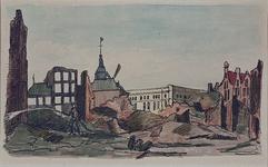 XXXIII-62-02-5 13 mei 1849Restanten van de suikerraffinaderij van de heer P. Tromp aan de Leuvehaven, na de brand.