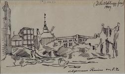 XXXIII-62-02-6 13 mei 1849Ruïnes van de suikerraffinaderij van de heer P. Tromp aan de Leuvehaven, na de brand.