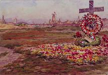 XXXIII-647-01-04 1945Bloemenhulde voor de gevallenen op de plaats van de Marinierskazerne in de bevrijdingsdagen.