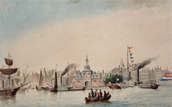 XXXIII-68 12 juli 1854Aankomst van schepen met feestgangers aan het Oudehoofd die het muziekfestival bijwonen ter ...