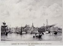 XXXIII-69 Muziekfeesten 1854Aankomst van stoomboten met feestvierenden aan het Oudehoofd. Rotterdam 10 july 1854.