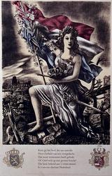 XXXIII-701-01 1945Symbolische voorstelling van de Nederlandse Maagd. Met op de achtergrond verwoest gebied waarbij de ...