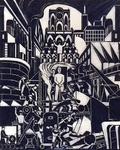 XXXIII-703 1946Symbolische voorstelling van de wederopbouw van de binnenstad.