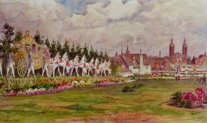 XXXIII-739-14-2 31 augustus - 6 september 1948Kroningsfeesten.De gouden koets op Dijkzigt.