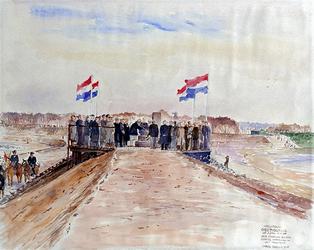 XXXIII-798 26 april 1951De voltooiing van de afdamming van de Brielse Maas.Koningin Juliana metselt de oorkonde in het ...