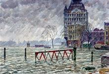 XXXIII-869-08 Overstroming van Rotterdam en omstreken in de nacht van 31 januari op 1 februari. Gezicht op de ...