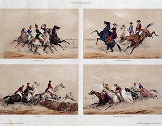 XXXIV-28-00-01-3 4 circusprenten op één blad.Nummer 9: La partie de Barres Nummer 10: Les Sauteurs de Versailles.Nummer ...