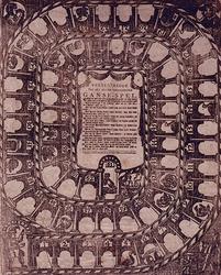 XXXIV-50-01 Afbeelding van het Ganzebordspel met verklaring.