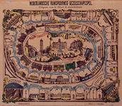 XXXIV-51-02 Nederlandsche Rijnspoorweg-gezelschapsspelVolksprent met afbeeldingen van de stations van de Rijnspoorweg. ...