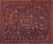 XXXIV-51-03 Een Vaderlandsche Historiespel (te vergelijken met ganzebord) van ein 18e eeuw. Achterop de spelregels.