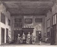 XXXIV-55 Afbeelding van 'De Burgerkamer 13e toneel uit Bernagie's klucht: De belachelijke Jonker vertoond 16 maart 1776.