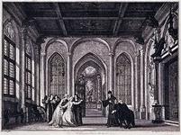 XXXIV-56 Afbeelding van De Kloosterkamer , 9e toneel van het 3° bedrijf uit het treurspel Melanie ov de rampzalige ...