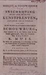 XXXIV-58 Bericht en voorwaarden van inschrijving op een zeer fraai stel kunstprenten, die alle tonelen vertoond vnan de ...