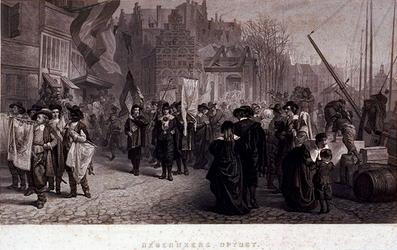 XXXIV-58-07 1658Rederijkersoptocht. Deze optocht stelt de optocht voor, die in 1642 in Rotterdam heeft plaats gevonden ...