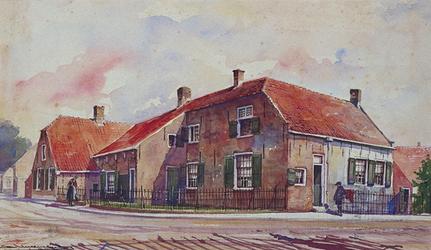 1971-2211 Gezicht op de Ring met de woonhuizen op de hoek van de Heyschedijk.