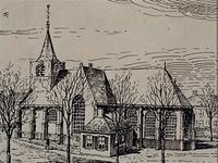 1971-2232 Gezicht op de Oude Kerk (vóór 1867) aan de Charloisse Kerksingel, vanuit het zuidoosten.