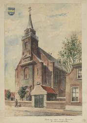 1971-2237 Gezicht op de Nederlands Hervormde Kerk te Moerkapelle. Linksboven : het wapen van Moerkapelle.