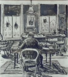 1986-1794 Architect J. Verheul Dzn. in zijn werkkamer aan de Mauritsweg 46.