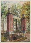 VERHEUL-NR-266 Inrijhek met gemetselde hekpijlers van de vroegere buitenplaats Leeuwenhof aan de Delftweg in ...