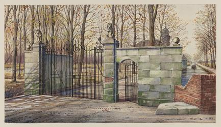 VERHEUL-NR-287 Inrijhek met gepleisterde hekpijlers en afsluitmuur met poortje van de voormalige buitenplaats Het Huis ...