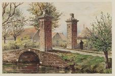 VERHEUL-NR-289 Inrijhek met gemetselde hekpijlers en boogbrug van het voormalig klooster Sion bij de samenkomst van de ...