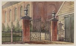 VERHEUL-NR-385 Inrijhek aan de Kerkstraat te Berkel, met gemetselde hekpijlers van het terrein rond de kerk der ...