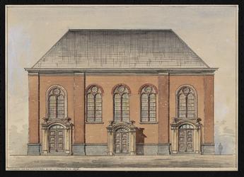 XVIII-175-00-01 Voorgevel van de Oosterkerk aan de Hoogstraat na de verbouwing van 1895.