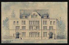 XXIII-176-02 Gebouw van de vereniging Ons Huis in de Gouvernestraat.Bouwkundige tekening van de voorgevel.