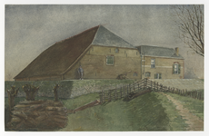 XXXI-254 Boerenhofstede 't Huis te Engeland aan de Heersdijk te Hoogvliet. Deze hofstede die kort bij de Oude Maas en ...